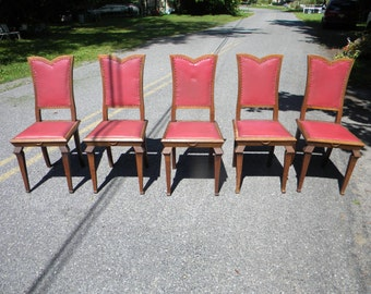 5 nice shape vintage antique 1910s 1920s OAK MISSION art nouveau DINING chairs  pick up only