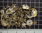 Mixed Vintage Watch Parts, Gears, Wheels, Balance Cocks, Plates, Hands, Crowns & Mainspring Barrels in Steel and Brass Art Supplies 04358