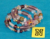 SPECIAL SALE - Sparkle Purples and Clears, Pink Lampwork, Ant Gold Fluted Spacers Beaded Spring Wire Bracelet - Fits Any Wrist - N