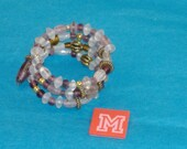 SPECIAL SALE - Frosty with Hints of Purple Beads, Ant Gold Fluted & Beaded Spacers Spring Wire Bracelet - Fits Any Wrist - M