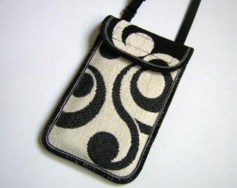 iPhone 6 Case Neck Purse Mini Crossbody Bag Elegante Smartphone Cover Handmade Phone Pouch cute purse chenille brocade fabric in Black White