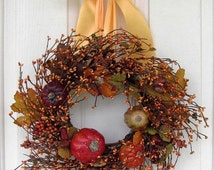 BLACK Friday CYBER Monday Fall Wreath -  Pumpkin Wreath 10 - Fall Berry Wreath - Condo Wreath - Fall Candle Ring - Pip Berry Wreaths - Fall