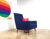 Paul McCobb High Back Lounge Chair FREE SHIPPING Mid Century Danish Modern Blue Chair