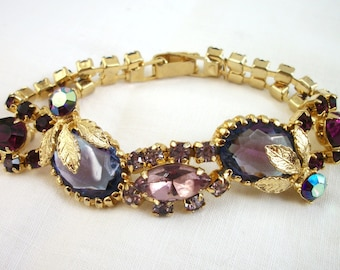 Vintage Purple Rhinestone Bracelet ~ Multiple tones ~ Various Shapes ~ Gold tone ~ Costume Jewelry