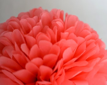 Coral / coral pink tissue paper Pom Pom - wedding party decorations / pompom