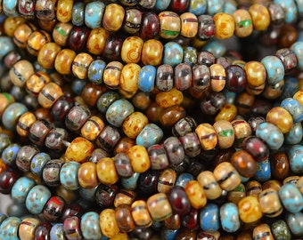 4mm Czech Aged Caribbean Blue Picasso Glossy Mix - 6/0 Czech Beads - 20 Inch Strand