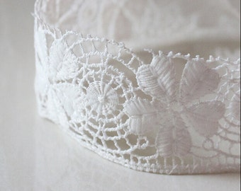 """14 yard 5cm 1.96"""" wide ivory/blue fabric milk silk embroidered lace trim ribbon tapes urfru free ship"""