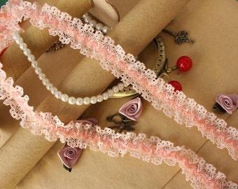 "20 meter 2.3cm 0.9"" wide light pink ruffled stretch elastic lace trim ribbon L11K235 free ship"