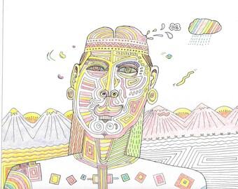 Coloured Tattoo Man cartoon