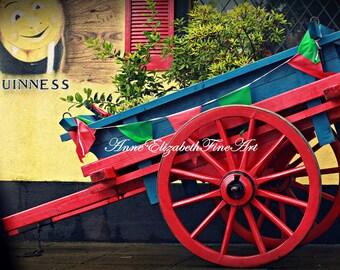 Ireland Photography, Irish Art Decor, Irish Cart, Red, Blue, Green, Guinness Art, Ireland Travel, Vintage Travel, Vintage Ireland, Pony Cart