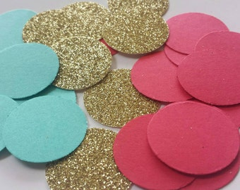 Red Aqua Gold Table Decor Confetti Perfect colors for Elena of Avalor birthday party!