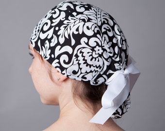 Surgery Hat, Scrub cap, Ponytail Scrub cap, Surgery cap~ B/W filigree