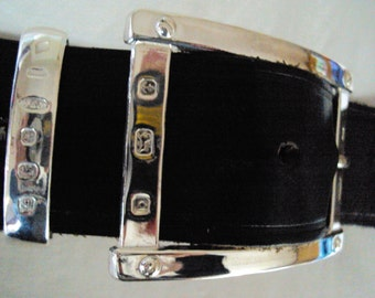 Dazzling Solid Sterling Silver Mens / Womens Belt Buckle ''The Plaza''