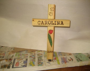 Wooden Cross - Dog or Cat Pet Memorial Burial Cross - The Everything Cross - personalized your way