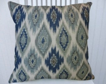 Blue Geometric Pillow Cover, Decorative Throw Pillow Cover 18x18 or 20x20 or 22x22 Accent Pillow Cover