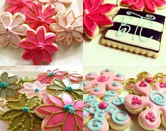 Flower Sugar Cookies Iced Decorated Birthday Favors Get well Gifts