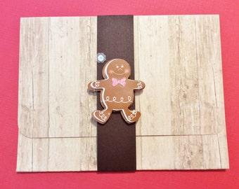 Christmas Gift Card/Money Holder, Handmade. Woodlike, Beige, Brown, Gingerbread, Snowflake, Red