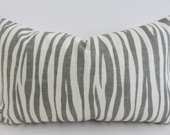 12x20 Zebra Gray Linen Pillow Cover, Ivory Linen Pillow Cover, Pillow Cover, Accent Home Decor