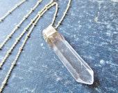 raw crystal necklace - quartz point necklace - crystal quartz jewelry - long crystal necklace