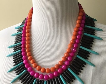 Pink, Orange, Turquoise and Black Triple Strand Statement Necklace - Turquoise Spike and Faceted Agate Statement Necklace Bianca Collection