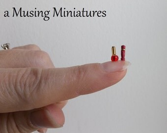 Red Lipstick and Nail Polish in 1 Inch Scale for Dollhouse Miniature Vanity or Beauty Shop