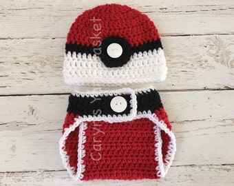 Baby Pokemon Pokeball Hat Diaper Cover Set, Newborn, 0-3, 3-6, Baby Shower Gift, Photography Prop - READY TO SHIP