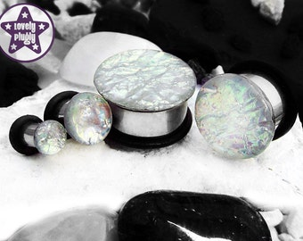 "Ocean of Ice Faux Dichroic Plug / Gauge White and Pastel Faux Dichro Wedding / Prom 4g, 2g, 0g, 00g, 7/16"" / 5mm, 6mm, 8mm, 10mm, 11mm"
