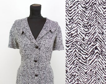1940s Dress // Zebra Print Rayon Shirtwaist Dress