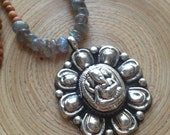 "Ganesh and labradorite necklace with flashy fiery stones 18"" sandalwood necklace mala yoga"