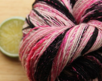 Pink Motorcycle - Handspun Merino Wool Yarn Sparkle Black