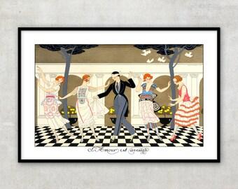 "Art Deco illustration, Art deco art, Vintage art, Illustration print ""Love is blind"" by Georges Barbier, IL086."