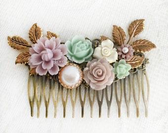 Mint Lilac Wedding Hair Comb Romantic Bridal Hair Slide Elegant Hair Pin Rustic Garden Wedding Hair Adornment Accessories