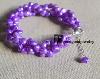purple pearl bracelet,6-7 mm Freshwater bracelet,wedding bracelet,prom bracelet,twist Pearl bracelet,real pearl bracelet,purple bracelet