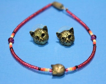 Vintage 90s Womens Cat Ankle Bracelet With Cat Earrings Boho Animal Lover Accessories