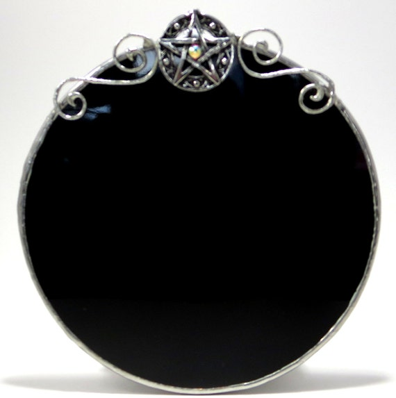 Round Black Wall Decor : Scrying mirror with pentacle round black wall decor