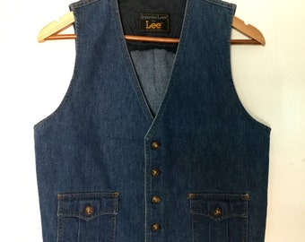 vintage Lee Denim Jean Vest 1970s Buttons Separate-Lees by Lee Made in the USA 38 Chest