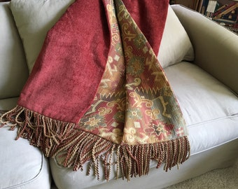 Moroccan Tribal Throw Blanket, Aztec, African Design,  Red Chenille, Plush, Luxurious