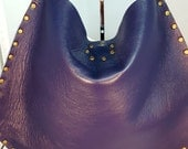 3 DAY SALE 30% OFF Code: Charity | Purple Lamb Skin Leather X-Body Handbag w/ Brass Studs
