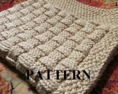 Knitting Pattern Blanket, Knitting Pattern, Basket Weave, Chunky Yarn, Knit Purl Stitch Only, Chart Pattern Included **Instant Download**