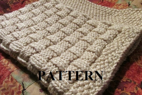Bulky Baby Blanket Knitting Pattern : Knitting Pattern Blanket Knitting Pattern Basket Weave