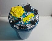 Yellow, black bling tumbler, bling drink cup, bling blue tumbler 16 oz