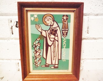 1967 St Anthony mod print green white brown stylized saint religious decor fish framed vintage