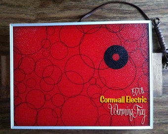 Red 1970s Vintage Mod Cornwall Electric Thermo Glass Warming Tray Works Great Excellent Condition