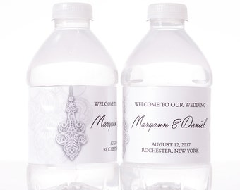 50 Wedding Water Bottle Labels - Wedding Bottled Water Labels - Personalized Water Bottle Wraps - Bottle Stickers
