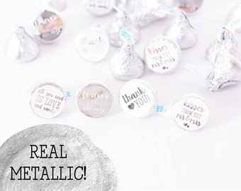 METALLIC FOIL Candy Stickers - 108 Metallic Silver Wedding Candy Stickers - Foil Wedding Stickers - Foil Wedding Labels