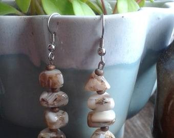 Brown Stone, Wooden Bead Dangle Earrings