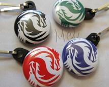 yin yang dragon zipper pull bag tag purse charm 1 inch button dangler you choose color