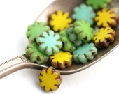 15pc Picasso Flower beads MIX in Turquoise, Yellow, Green, 9mm czech glass flat daisy, table cut, rustic floral beads - 1715