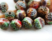Picasso Multicolor beads mix, Bright colored cathedral beads, green, red, fire polished round beads - 8mm - 15Pc - 2102