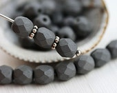 6mm beads, Dark Steel Grey, Special coating, Fire polished round beads, czech glass spacers, faceted - 1848